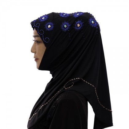 Blue Flower Black Hijab