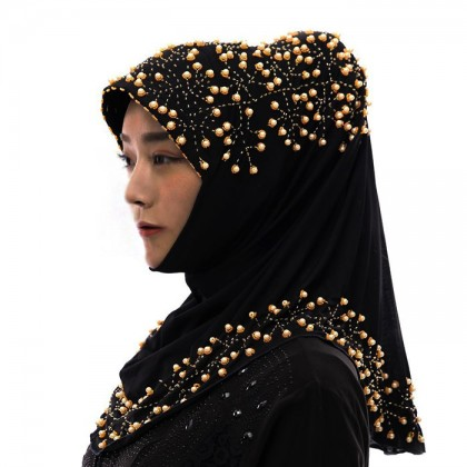 Golden Pearl Black Hijab