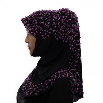 Purple Pearl Black Hijab